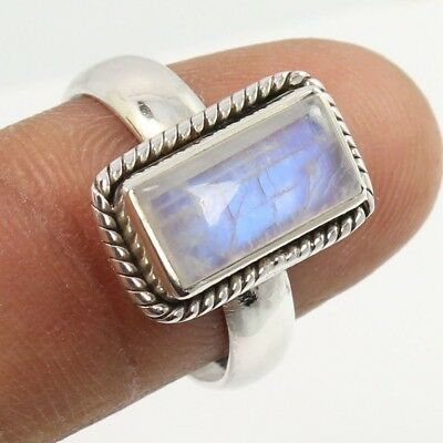Fashionable Ring Size US 6.5 Real RAINBOW MOONSTONE Gemstone 925 Sterling Silver