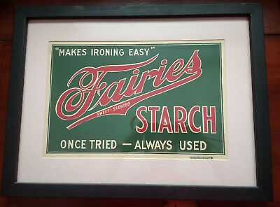 Professionally Framed & Matted Vintage FAIRIES STARCH Store Advertising Sign