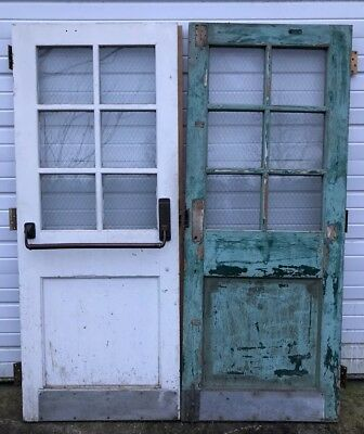 Vintage Pair Of Industrial Factory French Doors With Chicken Wire Glass Salvage