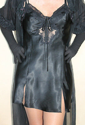 Black Teddie with black lace trim & drawstrings Frederick's of Hollywood MED 38""