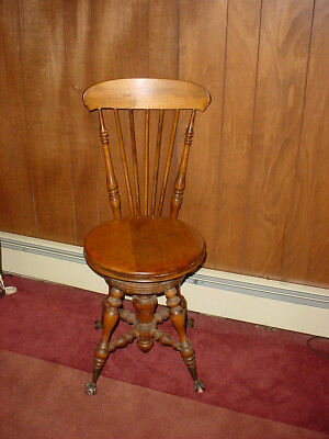 Antique Piano Chair/stool With Glass And Claw Feet