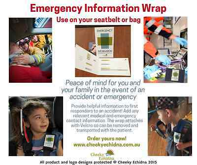 Emergency ID InformationWrap -allergies,autism safety,special needs,diabetic,ID