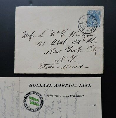 1901 Netherlands Holland America Line Ss Ryndam Ship Letter +Hand Drawn Music Us