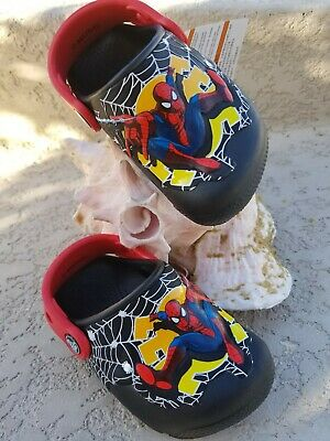 271267633 NWT CROCS SPIDERMAN Fun Labs Toddler Boys Lights Clogs Black Red Size c7