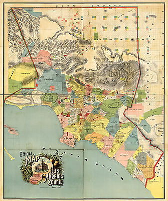 1888 Los Angeles County Map Wall Poster Print Vintage History Office Home School