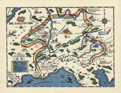 1945 WWII Military War Map 42nd Inf. Rainbow Div. U.S. Army History War Poster