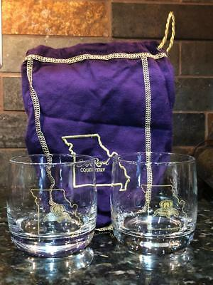 Limited Edition Crown Royal set of 2 Missouri glasses and Missouri bag