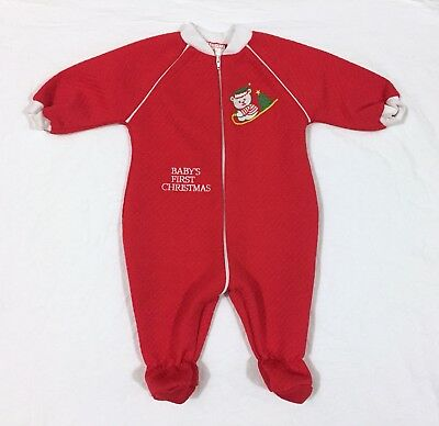 VTG Baby's First Christmas One Piece Sleeper Romper Pajamas Teddy Bear 6/9 Month