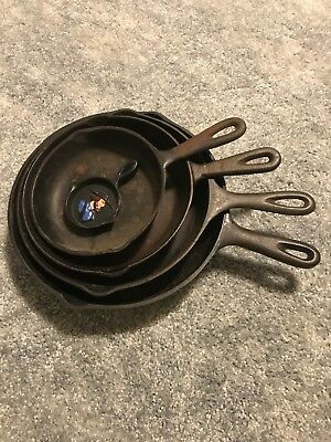 "Lot of 5 Pieces Vintage Cast Iron Skillet Grill Cookware 10,9,8,6 1/2"", 2 1/2"""