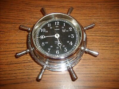 Antique Brass Salem Microtron 13 Jewel Swiss Ships Wheel Clock Western Germany