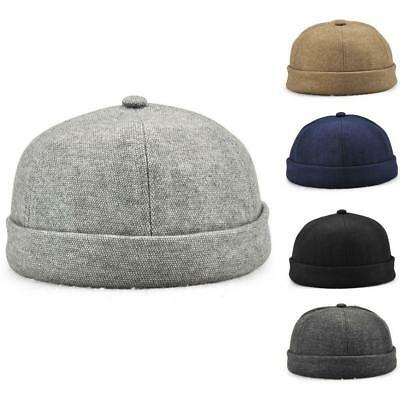 Unisex Men s Casual Docker Hat Sailor Cap Mechanic Hat Beanie Brimless Skull  Cap b7fbb3b762b3
