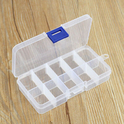 Empty Storage Container Box Case for Nail Art Tips Rhinestone Gems with 10Space