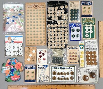 Lot of 19 Original Display Card / Sample Cards w/ Hundreds of Antique BUTTONS