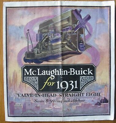 1931 BUICK McLAUGHLIN SALES BROCHURE FOLD-OUT STRAIGHT EIGHT Full Color Original