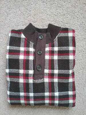 EXCELLENT Gymboree Boys Medium 7-8 Brown/Red Plaid Fleece Long-Sleeve Pullover