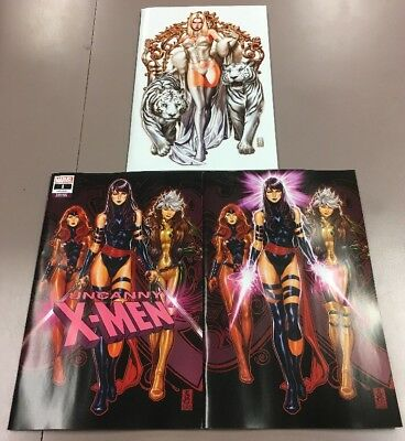 Uncanny X-Men #1 Brooks (2 VIRGIN & 1 TRADE) 3-Variant Set Covers A,B,C Psylocke