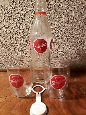 Vintage Sinalco Non Alcohol German Fruit Drink Soda Bottle Glasses lid/cap