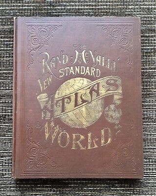 RARE VINTAGE 1890 Rand McNally New Standard Atlas of the World: Antique Maps
