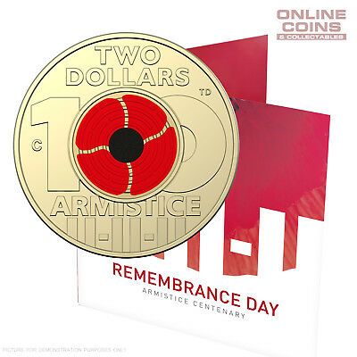 2018 $2 'C' Mintmark Coloured Coin In Card - Remembrance Day Armistice Centenary