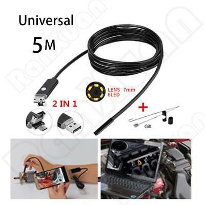 6 LED Lens 2IN1 Android Endoscope Waterproof Inspection Borescope USB Camera NEW