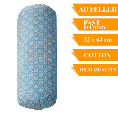 Yoga Prop Bolster Cotton With Removable Cover Back Support Fitness 64cm Blue