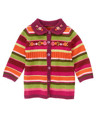 NWT Gymboree Butterfly Girl Striped Sweater Cardigan 12-18 Months Baby Girl
