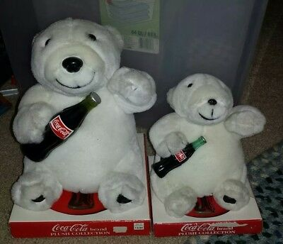 """New COCA-COLA 10"""" & 7"""" Plush Polar Bear with Coke Bottle Play-By-Play"""