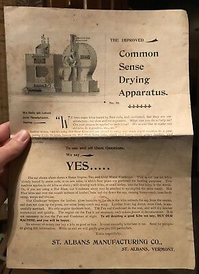 St. Albans Manufacturing Company Vermont VT Common Sense Drying Apparatus Flyer