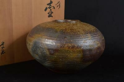 R9066: Japanese Bizen-ware Youhen pattern BIG FLOWER VASE Ikebana w/signed box