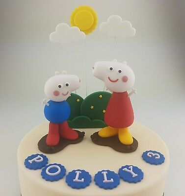 Peppa Pig Cake Topper Edible 3D George Muddy Puddle Sun Garden Name Age Figurine