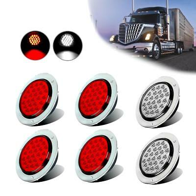 "4"" 24 LED Round Stop Turn Tail Backup Reverse Truck Lights Lamps 4x Red+2x White"