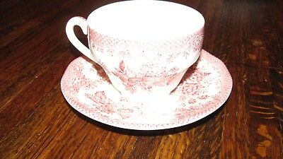 Vintage Pink ASIATIC PHEASANTS Parliament by Premiere England RED Cup & Saucer