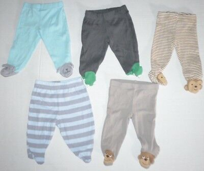 Lot of 5 Baby Boys Newborn Soft Footed Pants size NB Carter's monkey puppy dino