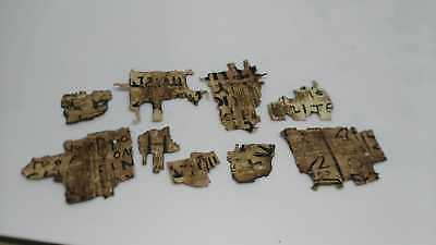 Amazing rare Coptic Egyptian papyrus Lot of 9 in Greek and Latin, hieroglyphs