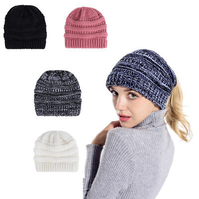 Womens Knitted Stretch Hat Bun Ponytail Beanie Holey Warm Cap for Autumn Winter
