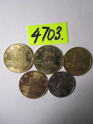 5 x  coins from    China    10  gms      Mar4703/1