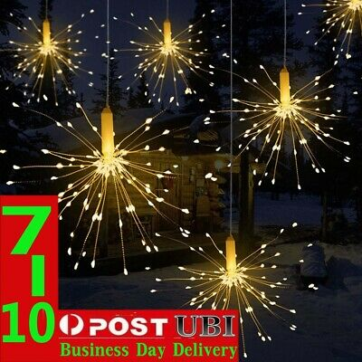 Solar/Battery 180 LED 8 Modes Hanging Starburst Firework Fairy String Light Xmas