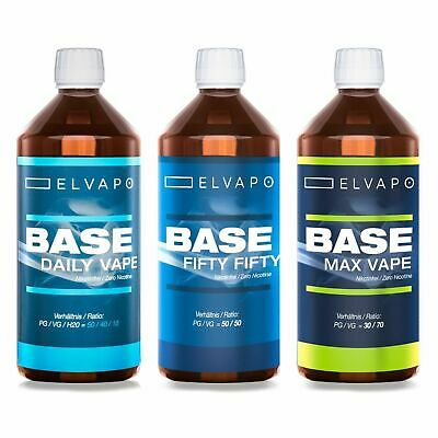 1000ml/1L Elvapo BASE | 50/50 | 30/70 | 0mg E-Liquid Basis f. Aromen E-Zigarette