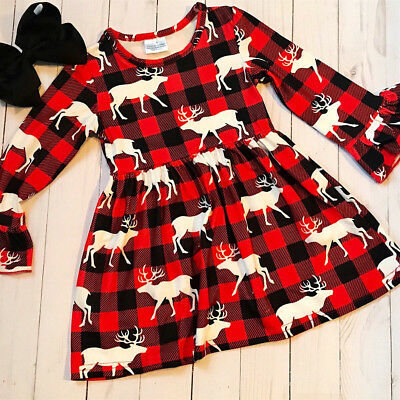 US Christmas Toddler Kids Girl Long Sleeve Xmas Plaid Flared Party Dress Clothes