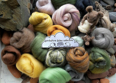 Selection Box of Merino Wool / Silk roving/ tops / needle felting /spinning 100g