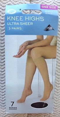 BOOTS Knee Highs 3 pairs - 7 Denier -  Nearly Black -  One Size
