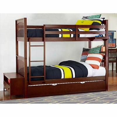 NE Kids Pulse Cherry Twin Bunk Bed with Trundle - 31040NT