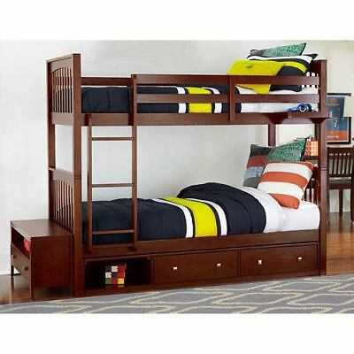 NE Kids Pulse Cherry Twin Bunk Bed with Storage - 31040NS