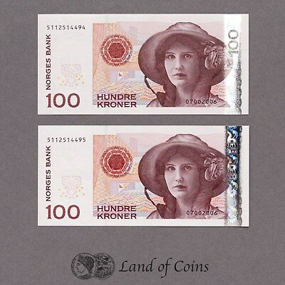NORWAY: 2 x 100 Norwegian Krone Banknotes with Consecutive Serial Numbers.