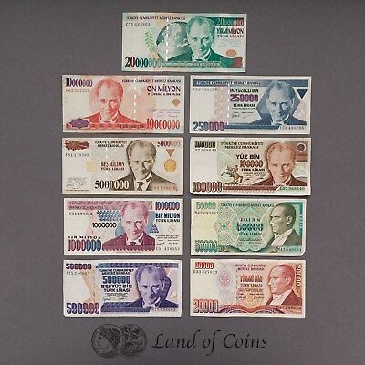 TURKEY: Set of 9 Turkish Lira Banknotes.