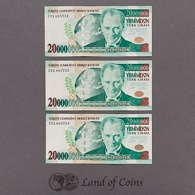 TURKEY: 3 x 20,000,000 Turkish Lira Banknotes with Consecutive Serial Numbers.