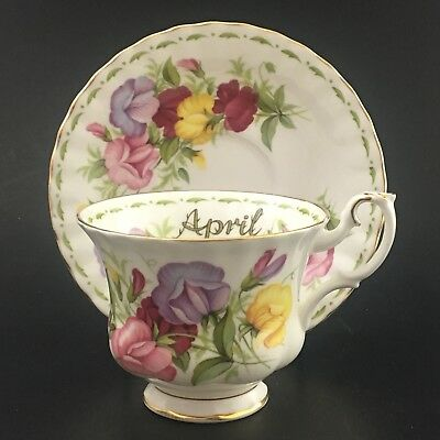Royal Albert Teacup And Saucer Flower Of The Month April Sweet Pea W/ Gold Trim