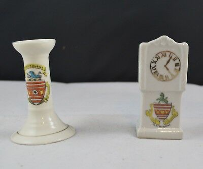 Two Pieces Crested Ware Gemma Candle Holder Unknown Grandfather Clock Eastbourne