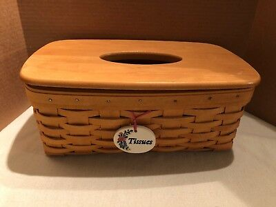 Longaburger Long Tissue Box Basket with Lid Retired Dated 2000