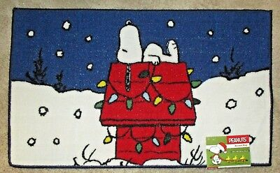 """Snoopy On Dog House with Christmas Lights   Accent Rug 18"""" X 30""""  Blue"""